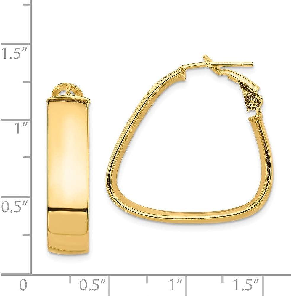 7mm X 7mm 14k White Gold Fancy Hollow Hoop Earrings,