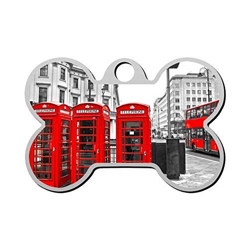 uniquepig London Red Booth Personalized Pet Id Tags for Dogs Bone,Custom Engraved Pet Tags,Dog Tag,Novelty Gifts for Dog Lovers
