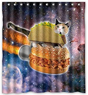 Hipster Flying Space Cats Waterproof Shower Curtain 66 X