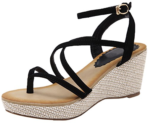 Sandals Black Strappy Platform Sandals Heel Wedge By Women For BIGTREE Bohemian High 5wOPHx