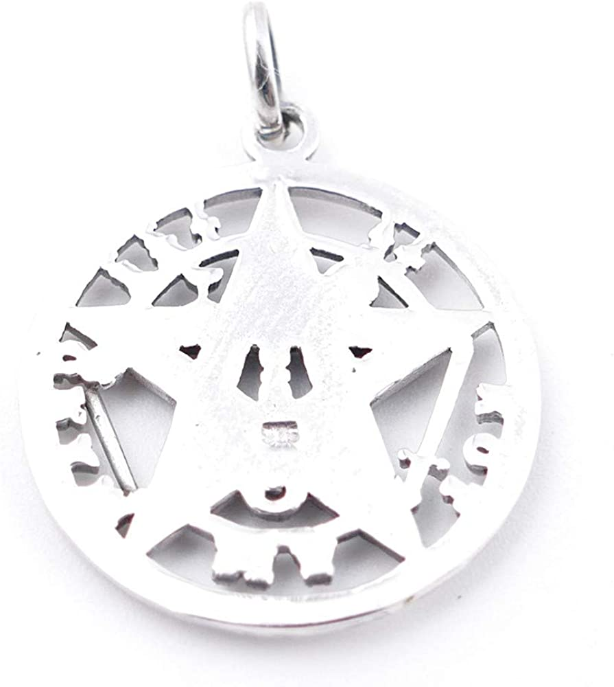 ARITZI Distintos diametros Collar Delicado de Plata de Ley 925 con medall/ón de Tetragrammaton Incluye una Cadena Box Chain en 45cm de Plata