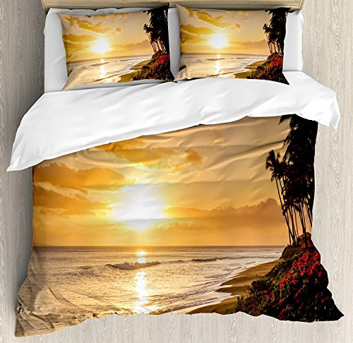 Hawaiian Decor King Bedding Duvet Cover Set 4 Piece, Breathable Soft Extremely Durable Microfiber Set for Hotel/Beddroom, Warm Tropical Sunset on Sands of Kaanapali Beach in Maui Hawaii Destination