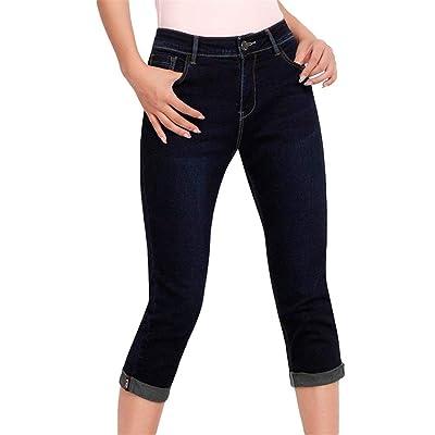 ADELINA Vaqueros De Mujer Slim Fit Skinny Stretch Jeans Ropa Pantalones Capri Recortados Pantalones con Bolsillos Botones Jeans (Color : Dunkelblau, Size : 40): Ropa y accesorios