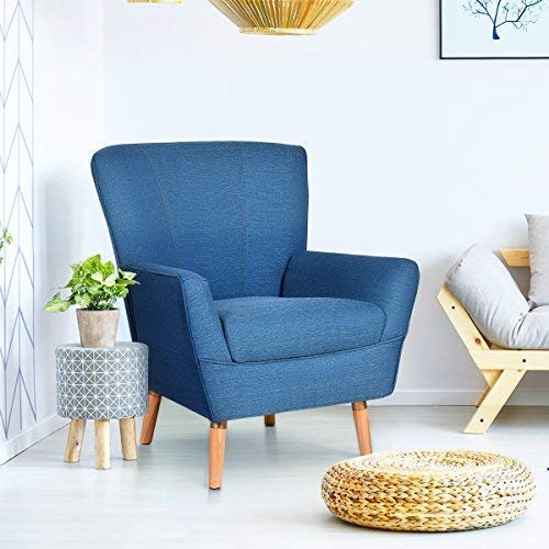 Giantex Home Decor Elegant Single Accent Leisure Upholstered Arm Chair (Blue)