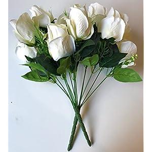 DALAMODA 2 Bundles 14 Heads Rose Bud Flower Bouquet-91909 77