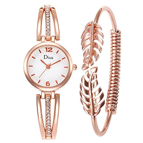 FIILIIP Women's Quartz Bangle Watch & Bracelet Gift Set, Rhinestone, Rose Gold (Quartz Bangle Watch Bracelet)