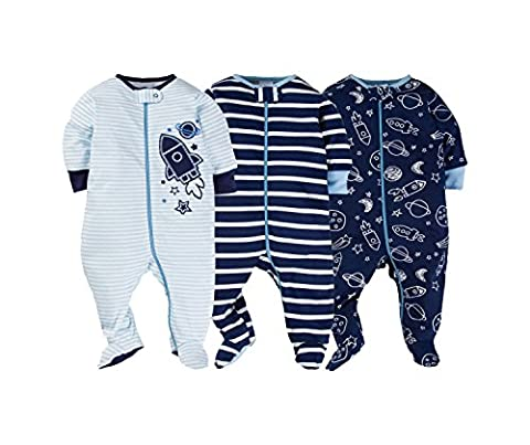 Gerber Onesies Baby Boy Sleep N Play Sleepers 3 Pack (3-6 Months, Reach For The Stars) - Baby Boy Pajamas