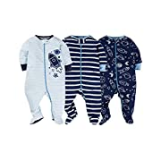 Gerber Onesies Baby Boy Sleep N Play Sleepers 3 Pack (Newborn, Reach For The Stars)