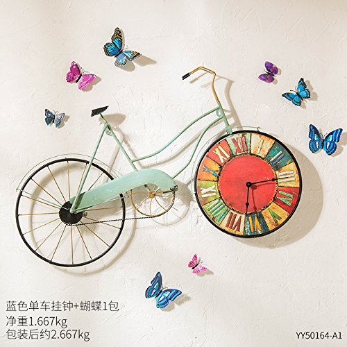 Iron bicycle wall clock drift, in memory of the bicycle style wall decoration clock cycle clock , With Butterfly Blue bike wall clock