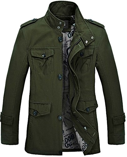(Nidicus Mens Military Zipper Front Twill Pea Coat With Flap Chest Pocket Army Green XXL)