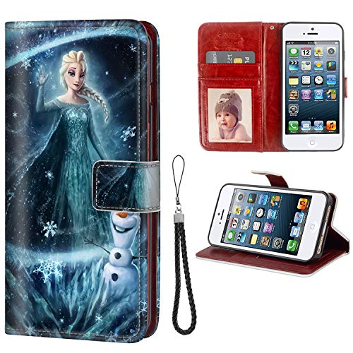 - DISNEY COLLECTION Phone Wallet Case for Apple iPhone SE (2016) and iPhone 5S (2013) and iPhone 5 (2012) (5.5 Inch) Snow Queen and Snowman Shock Absorbent