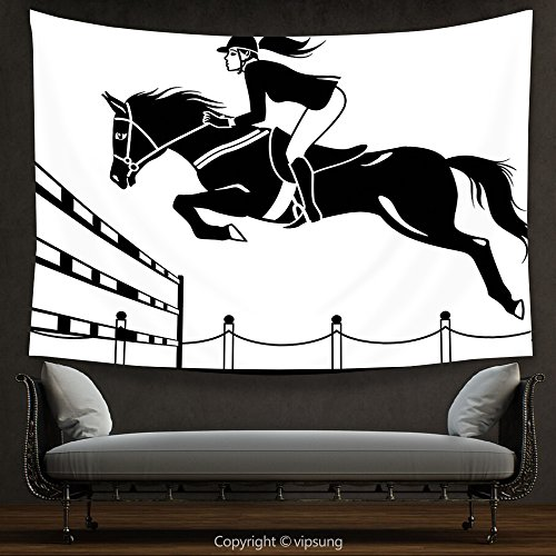 vipsung House Decor Tapestry Cartoon Racing Horse with a Jockey Girl Jumping Above Barrier Barn Farming Image Print Black and White Wall Hanging for Bedroom Living Room Dorm -