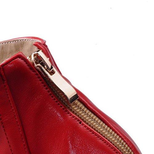 AllhqFashion Mujeres Sólido Tacón ancho Cremallera Puntera Redonda Cerrada Botas Rojo