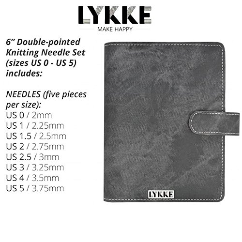 Lykke Double Pointed Needles Gift Sets (Small US 0-5 Set in Grey Denim Pouch) by Lykke