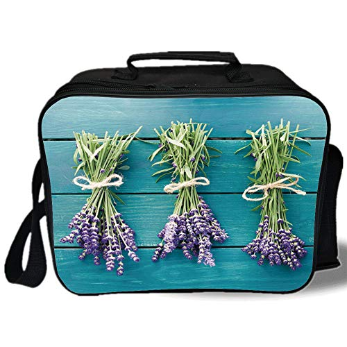 Insulated Lunch Bag,Lavender,Fresh Lavender Bouquets on Blue Wooden Planks Rustic Relaxing Spa Decorative,Sky Blue Lavender Green,for Work/School/Picnic, Grey by iPrint