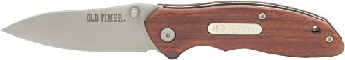 Old Timer OT Rosewood 7in High Carbon S.S. Spring Assisted Folding Knife with a 3in Drop Point Blade and Ironwood Handle for Outdoor, Hunting, Camping and EDC