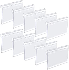 Canomo 60 Pack Plastic Wire Shelf Price Label Holders Merchandise Display Sign Display Holder (6cm x 4.2cm), Clear