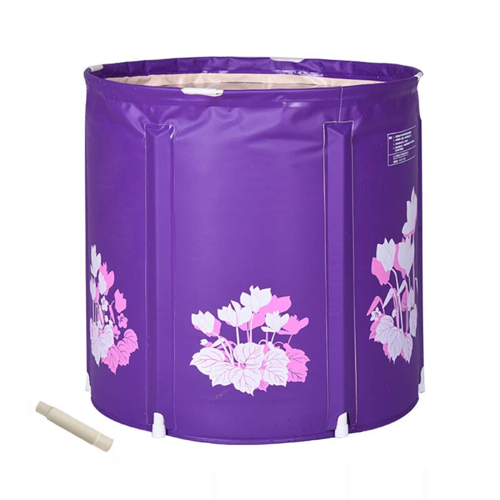 Purple 6065cm CQ PVC Plastic Bath Tub, Adult Folding Bathtub, Large Thick Hot Tub, Free Inflatable Keep Warm The Man Woman Swimming Pool 2 colors 2 Sizes (color   PURPLE, Size   60  65cm)