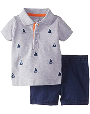Baby-Boys Newborn Sailboat Short Set