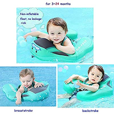 V Convey Size Improved Add Tail Never Flip Over Mambobaby 2020 Newest Non-Inflatable Float Swim Trainer Relaxing Baby Float Infant Pool Float with Canopy Solid Waist Swimming Ring Sunshade: Toys & Games