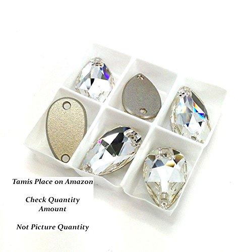 SWAROVSKI Sew On FlatBack PEAR Crystal CLEAR (Swarovski Teardrop Beads)