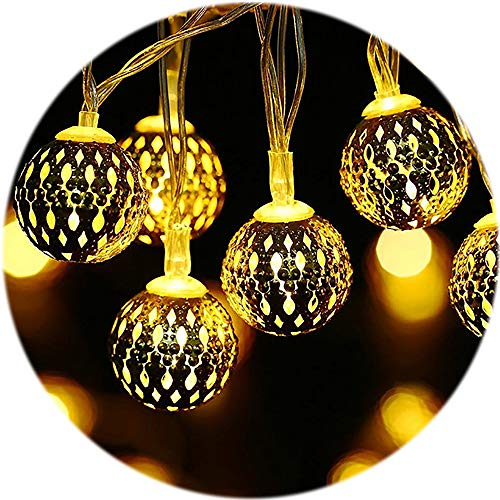 Globe String Lights Moroccan Orb String Lights, 20LED/6.6ft Waterproof Decorative Twinkle Lights for Christmas Party Wedding Bed Window Patio Gazebo Garden Home Indoor Outdoor Decor, Warm White