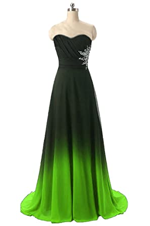 HEAR Womens Gradient Chiffon Long Prom Dress Ombre Beads Evening Party Gowns Formal Dresses Green US2