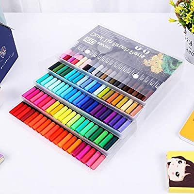 12/18/24/36/48/72/100 Colors Drawing Painting Watercolor Art Marker Pens Dual Tip Brush Pen School Supplies Stationery