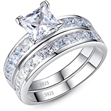 Mabella 925 Sterling Silver Princess CZ Engagement Ring Wedding Band Set Gifts Rings for Women