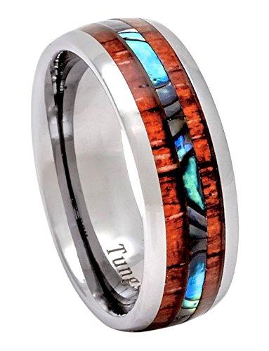 Jewelers Wood - PCH Jewelers Tungsten Hawaiian Koa Wood and Abalone Ring 8mm Comfort Fit Band (9)