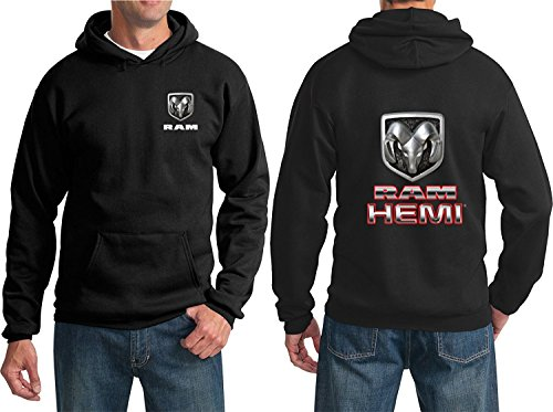 RAM Hemi Logo Dodge Emblem Mopar Badge Sweatshirt Hoodie(F&B), Black, - Sweatshirt Dodge