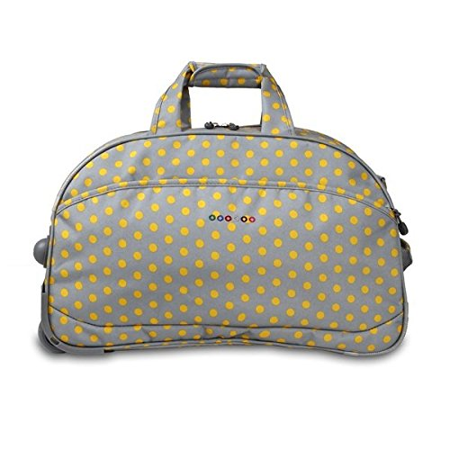 OS Single Piece Grey Polka Dot Rolling Duffel Bag, Fashion Carry On Lined, Polyester Material, Adjustable Strap, Telescoping Handle, Plenty Of Space, Attractive Style, Perfect for weekend road trip by OS (Image #2)