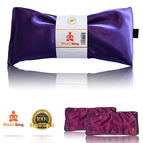 Blissful Being Silk Eye Pillow Set With Purple Cover | Lavender & Flax Seeds | Soothe Tired & Puffy Eyes, Relax, Calm Body & Mind, Eliminate Headaches / Migraines (Amethyst with Purple Cover) - Lavender Silk Eye