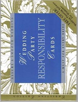 Wedding Party Responsibility Cards: Elizabeth Lluch: 9780963965493 ...