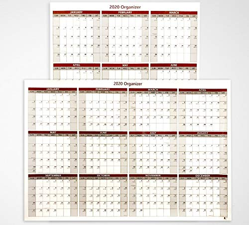 """Elite Finds 2020 Yearly Wall Calendar - 24"""" x 36"""", Large, Erasable, Dry Erase, Laminate, Reversible, Vertical/Horizontal, 12 Month Annual Planner, Highlighted Key Days and Holidays"""