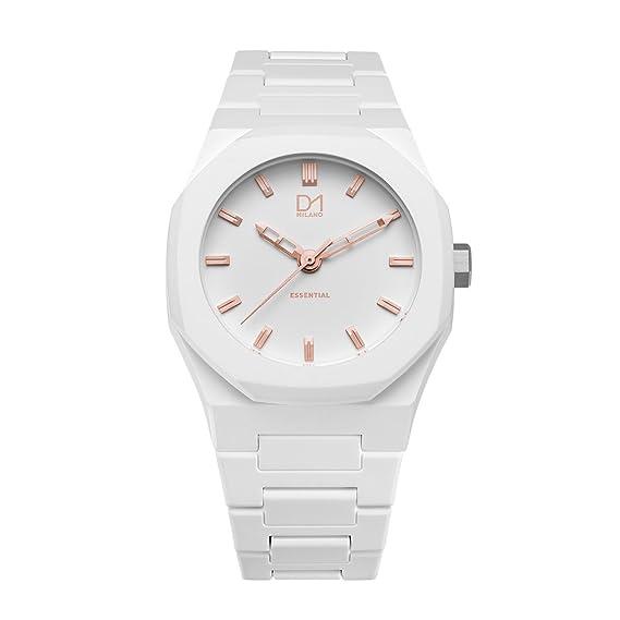 D1 Milano a-es06 blanco con oro rosa detalles policarbonato reloj