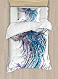 Ambesonne Jellyfish Duvet Cover Set Twin Size, Aqua Colors Art Ocean Animal Print Sketch Style Creative Sea Marine Theme, Decorative 2 Piece Bedding Set with 1 Pillow Sham, Blue Purple White