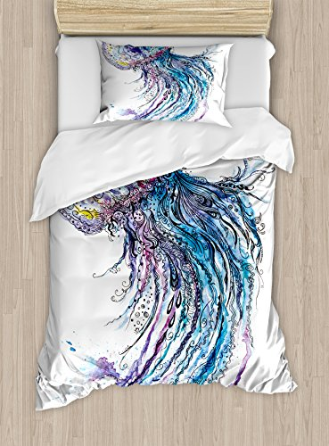 Ambesonne Jellyfish Duvet Cover Set Twin Size, Aqua Colors Art Ocean Animal Print Sketch Style Creative Sea Marine Theme, Decorative 2 Piece Bedding Set with 1 Pillow Sham, Blue Purple White by Ambesonne