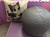 New Style Knitted Woolen Round Cushion POUF (Grey)