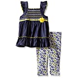 Kids Headquarters Little Girls' Smocked Chambray Tunic and Printed Capri, Blue, 6