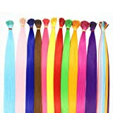 Women 100S I Tip Colorful Rainbow Synthetic Fiber