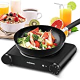 Cusimax Single Burner, Portable Electric Stove, 1200W Infrared Burner Heat-up In Seconds, 7 Inch Ceramic Glass Single Plate Cooktop for Dormitory Office Home Camp, Compatible with All Cookware