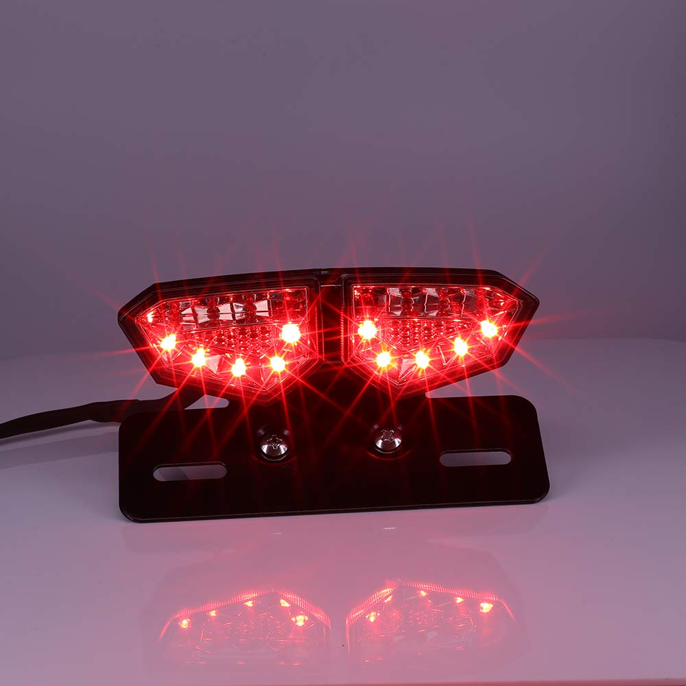 Motorrad Rü cklicht Blinkerleuchte LED Rot Gehobelt Kennzeichnenleuchte mit Halter Retro AUTLY