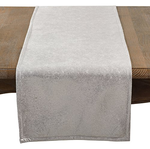 SARO LIFESTYLE Shimmering Evening Event Table Runner, 15'' x 72'', Silver by SARO LIFESTYLE