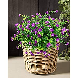 YOSICHY Artificial Flowers, Fake Outdoor UV Resistant Plants Faux Plastic Greenery Shrubs for Outside Hanging Planter Home Kitchen Office Wedding Garden Decor(Fushia) 4
