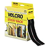 Hook and Loop Tape Roll, Sticky Back, 3/4''x15', Black, Sold as 1 Roll