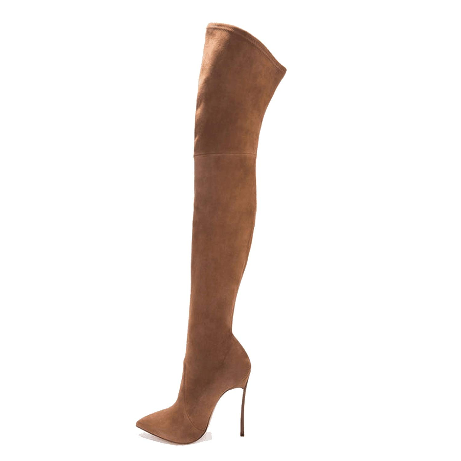 loveinfinite 2018 Boots Boots Long Pointed Leather Elastic PU Repair Legs Knee Boots Women Shoes
