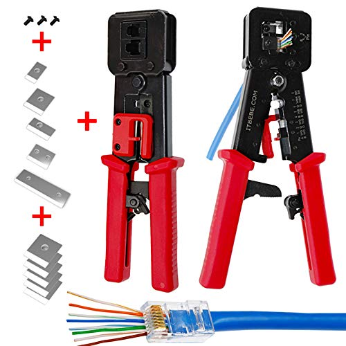 - ITBEBE RJ45 Crimping Tool Made of Hardened Steel with Wire Cutter Stripping Blades and Textured Grips (RJ45 CRIMPER RED)