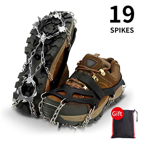 A-MIND Ice Cleats Crampons Anti Slip Traction Cleats,19 Teeth Steel Spikes Safe Protect for Hiking Fishing Walking Climbing Jogging Mountaineering(Upgraded) (XL)