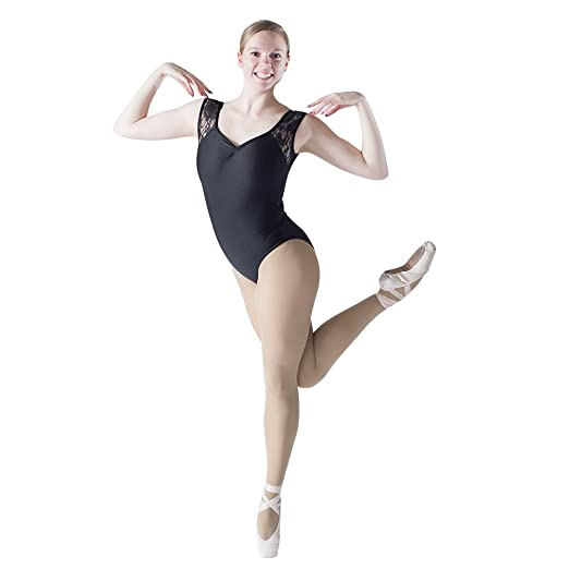 2fc9ab5bee HDW DANCE Black Women Ballet Dance Leotard Lace Tank Pinch Front Nylon  Lycra Bodysuit (S